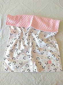 Textil - Detská deka do postieľky (Pandy na bielej + Blush minky) - 10366323_