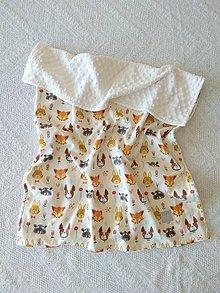 Textil - Detská deka do postieľky (Zvieratká na krémovej + Ivory minky) - 10366325_
