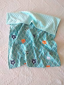 Textil - Detská deka do postieľky (Lesné zvieratká + Tiffany minky) - 10366327_
