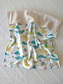 Textil - Detská deka do postieľky (Dinosaury + Latte minky) - 10366331_