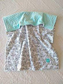 Textil - Detská deka do postieľky (Sivé zvieratká + Tiffany minky) - 10366332_