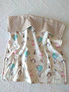 Textil - Detská deka do postieľky (Líška s ježkom v balóne +Latte minky) - 10366333_