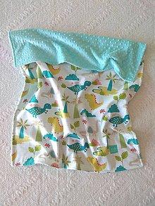 Textil - Detská deka do postieľky (Dinosaury + Tiffany minky) - 10366334_