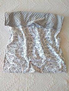 Textil - Detská deka do postieľky (Sivé zvieratká + Silver minky) - 10366336_