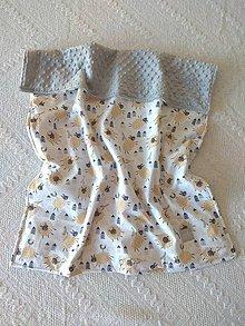Textil - Detská deka do postieľky (Ovečky horčicové + silver minky) - 10366338_