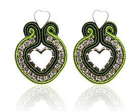 Náušnice - Mini srdiečka Chromantic ♥ (Zelené) - 10363836_