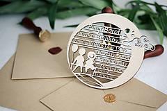 Papiernictvo - Drevené svadobné oznámenia - 10365612_