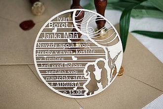 Papiernictvo - Drevené svadobné oznámenia - 10365629_