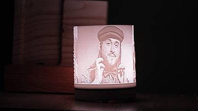 Svietidlá a sviečky - 3D foto lampa  (lampa so šedým kruhom) - 10363515_