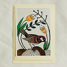 Papiernictvo - pohľadnica vtáčik - 10363952_