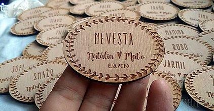 Darčeky pre svadobčanov - Menovka s magnetkou pre svadobčanov 2v1 - 10364587_