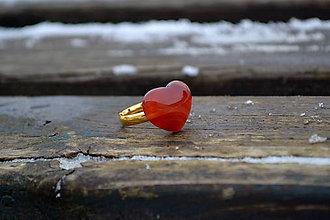 Prstene - Srdce Achát pozlátený prsteň zo striebra - 10363827_