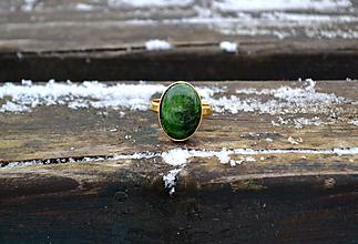 Prstene - Chromdiopsid pozlátený prsteň zo striebra - 10365885_