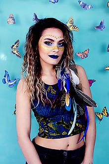 Ozdoby do vlasov - Modrý bohémsky festival hair clip - 10363802_