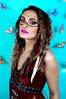 Ozdoby do vlasov - Ružový bohémsky festival hair clip - 10366369_