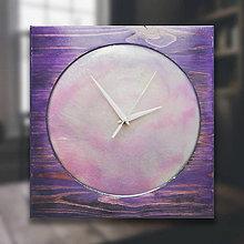 Hodiny - Violet Pearl - Živicové drevené hodiny - 10365881_