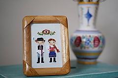 Obrázky - Dvojica v kroji - vyšívaný portrét - 10363951_