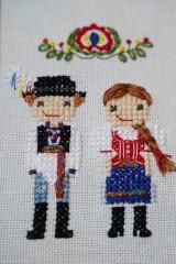 Obrázky - Dvojica v kroji - vyšívaný portrét - 10363960_