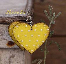 Náušnice - Heart dots // Yellow - 10362719_
