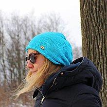 Čiapky - Bavlnená tyrkysová čiapka - 10367633_