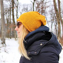 Čiapky - Bavlnená horčicovo-žltá čiapka - 10367707_