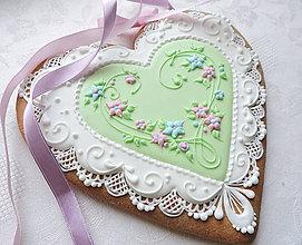 Dekorácie - Medovníkové srdce z lásky darujem 19 cm - 10367311_