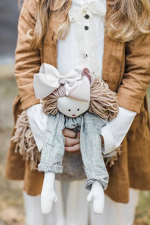 Hračky - Ľanová bábika  (Šedá) - 10369729_