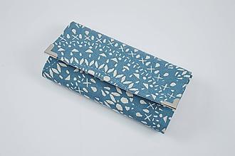 Peňaženky - Peňaženka smotanové mandaly na modrom - 10366566_