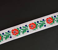 Opasky - Biely folklórny ľudový opasok Hanka  - 10368977_