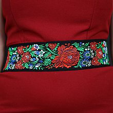 Opasky - Dámsky folklórny, ľudový opasok široký na stužku , vyšívaný , na mieru 7 cm široký - 10369891_
