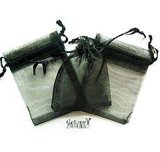 Obalový materiál - Organzové vrecko, 7x9 cm, čierne - 10367680_