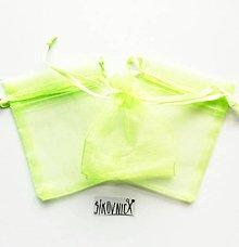 Obalový materiál - Organzové vrecko, 7x9 cm, svetlá zelená - 10368496_