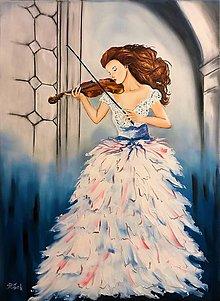 Obrazy - Žena s husľami - 10370277_