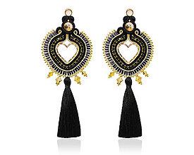 Náušnice - Náušnice Srdcia čierno-zlaté (Čierno-zlaté) - 10370269_