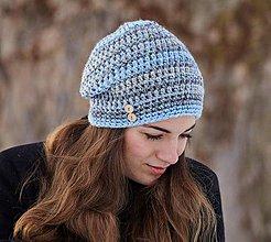 Čiapky - Sivo-modrá čiapka - 10370336_