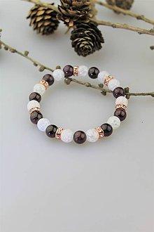 Náramky - granát s krištálom náramok - 10370389_