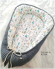 Textil - Hniezdo pre bábätko z vafle bavlny v sivej farbe - 10368638_