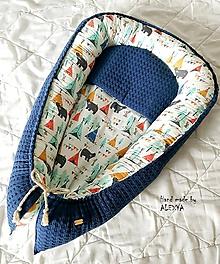 Textil - Hniezdo pre bábätko z vafle bavlny v modrej farbe - 10368794_