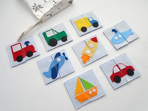 Montessori pexeso: dopravné prostriedky (8 párov)