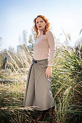 Sukne - midi sukňa s prackou (Šedé káro s hnedým prúžkom) - 10367677_