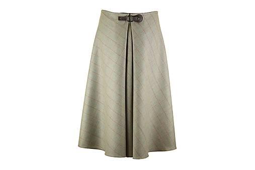 midi sukňa s prackou (Šedé káro s hnedým prúžkom)