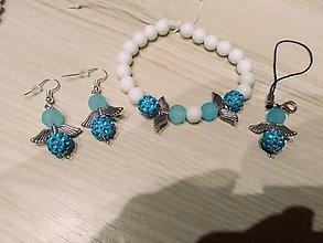 Náramky - Modro biely Shamballa set - 10367260_