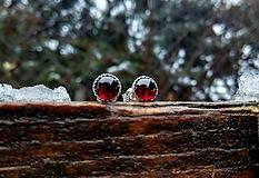 - Strieborné náušnice Ag925 s prírodným granátom - 10368694_