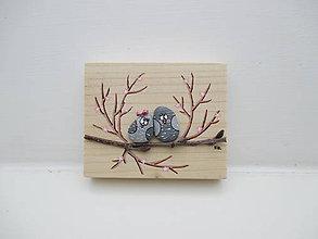 Tabuľky - Zamilovaný párik - menší, ružová - 10369192_