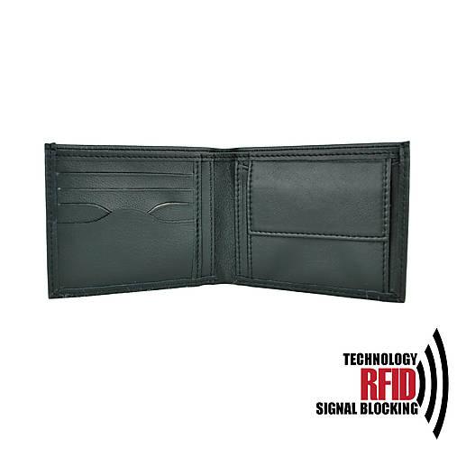 Ochranná pánska kožená peňaženka v čiernej farbe