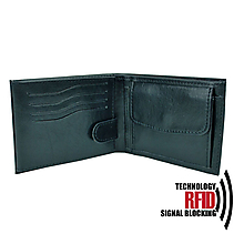 Tašky - Ochranná pánska kožená peňaženka v čiernej farbe - 10369058_