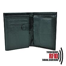 Tašky - Ochranná pánska kožená peňaženka v čiernej farbe - 10369109_