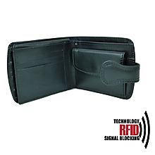 Peňaženky - Ochranná dámska kožená peňaženka v čiernej farbe - 10369202_