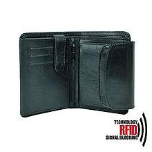 Peňaženky - Ochranná dámska kožená peňaženka v čiernej farbe - 10369230_
