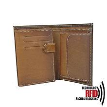 Tašky - Ochranná pánska kožená peňaženka v hnedej farbe - 10369325_